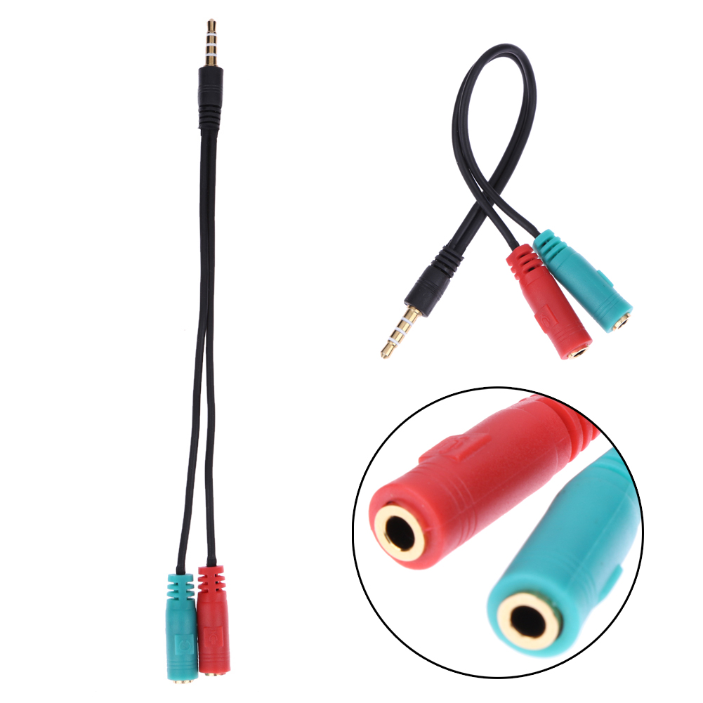 3.5mm Jack Splitter <font><b>2</b></font> in 1 <font><b>4</b></font> Pole <font><b>Male</b></font> Audio <font><b>Cable</b></font> Adapter Earphone Headset <font><b>to</b></font> <font><b>2</b></font> <font><b>Female</b></font> Headphone Mic For PC Notebook Laptop image