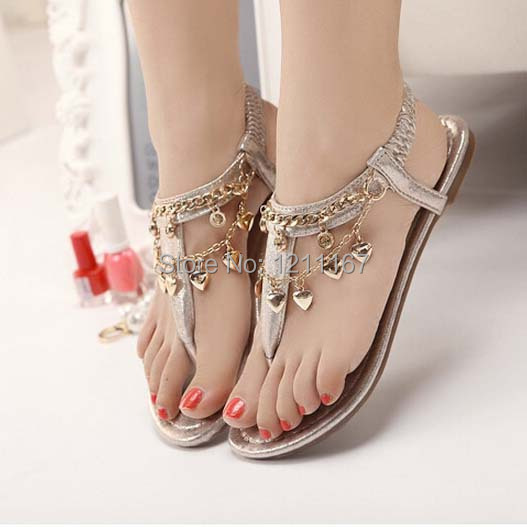 2015 Spring Summer Women Chain Flats Sandals Shoes Fashion