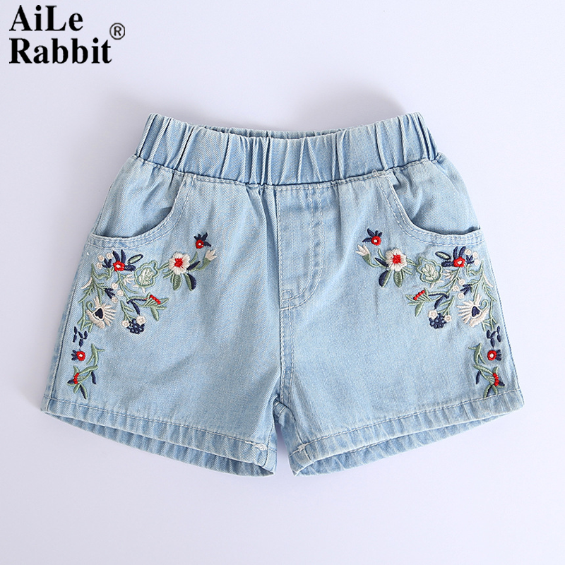 AiLe Rabbit 2018 Kids Shorts Kids Embroidered Flowers Fashion Denim Shorts Girls Clothes Wild Style Summer Promotions new original lcd screen sl009di21b543