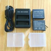 Gopro hero 4 용 흰 동가리 배터리 bateria gopro 4 배터리 usb 듀얼 충전기 배터리 케이스 hero 4 실버/블랙 액션 액세서리