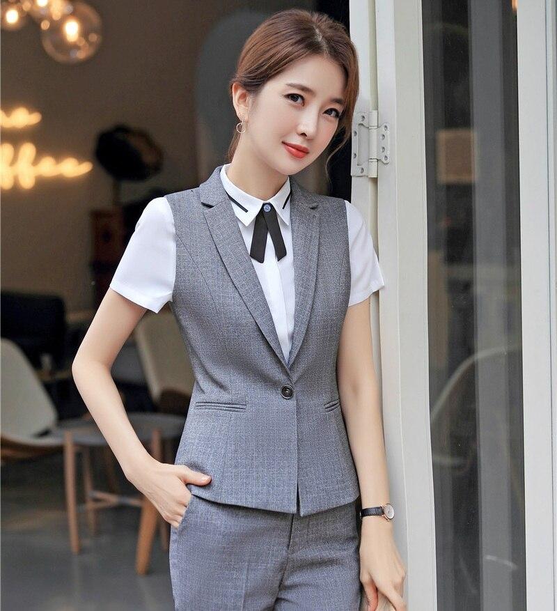 Formal Ladies Grey Waistcoat Women Vest Female Work Wear Clothes Office  Uniform Styles OL Vests & Waistcoats  - AliExpress