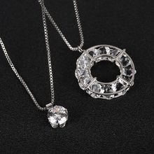 Argent couleur strass Long collier Vintage cercle cristal verre pendentif colliers femmes strass pull collier bijoux(China)