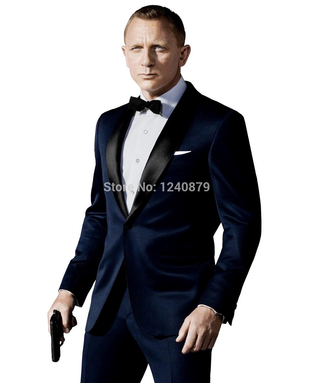Custom Made Dark Blue Tuxedo Inspired By Suit Worn In James Bond Wedding Suit For Men Groom Jacket Pants Bow Black