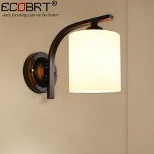 ECOBRT simple estilo moderno lámpara de noche dormitorio lámparas de pared de Interior de cristal negro accesorios de iluminación pasillo balcón