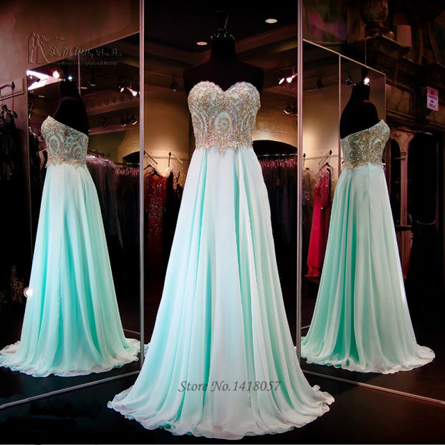 Mint Green Prom Dresses 2016 Gold Lace Evening Gowns Dress For