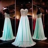 Verde menta prom dresses 2016 oro pizzo abiti di sera del vestito per la laurea vestido de formatura baile vestito da partito lungo chiffon