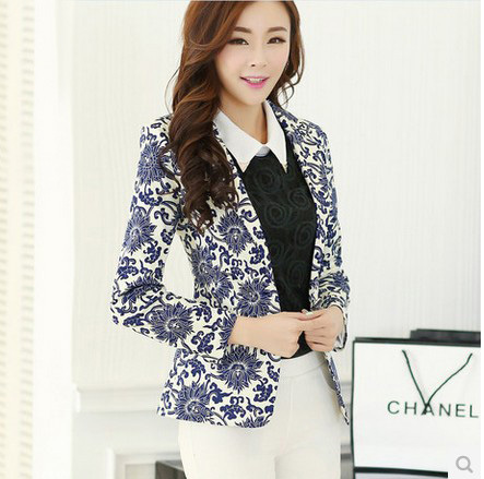 Fashion 2015 Print Summer Style Jacket Suit White Casual Work Wear