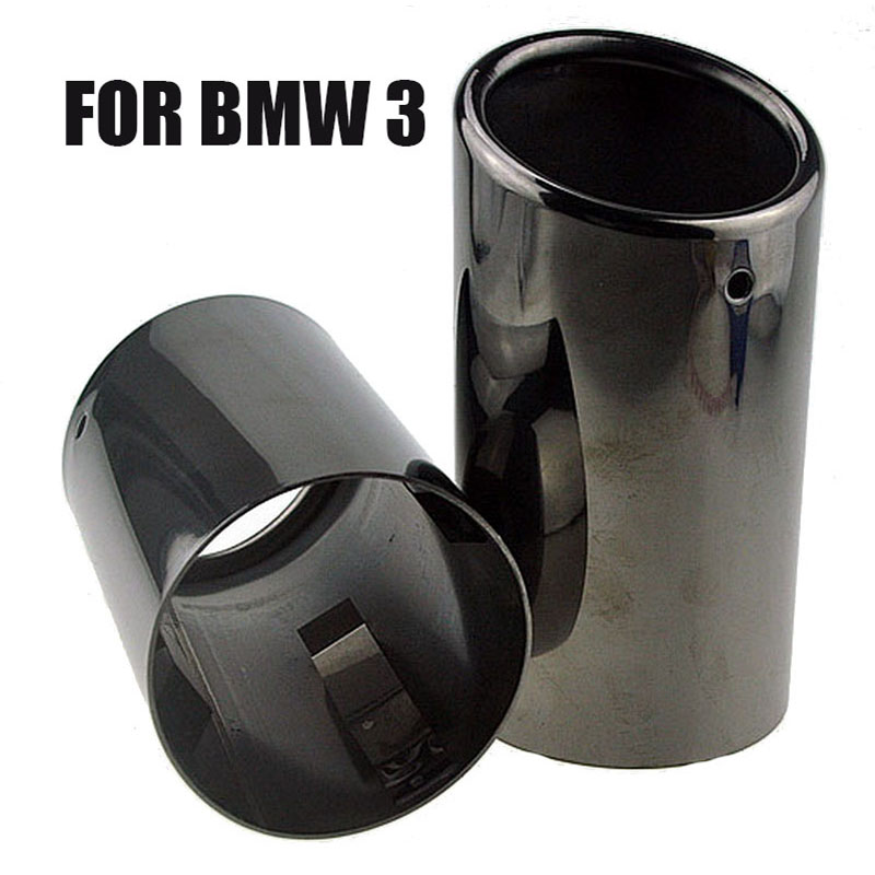 1 Pair Car Tail Exhaust Tip Pipes Titanium Black For BMW E90 E92 325 328i 3 Series 2006 2010 Stainless Steel