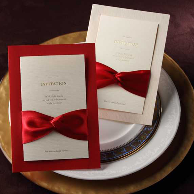 New Ribbon Design Bow Khaki Single Pocket Wedding Invitations Set Paper Blank Printing Invitation Cards Send Envelope square design white laser cut invitations kit blanl paper printing wedding invitation card set send envelope casamento convite