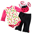 Floral mariquita trajes establece ropa de recién nacido establece mameluco niño babero baberos pantalones largos babywear tops monos monos generales W98