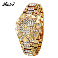 Miss Fox unique sunflower case Ladies Watch Top Brand Quartz Watches Female Diamond Gold Hidden Clasp Fashion Ladies Wristwatch