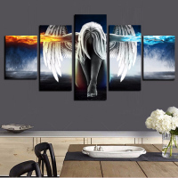 YWDECOR 5Panel 3D Angeles Girls Canvas Painting Anime Demons Children S Room Modular Wall Pictures Art