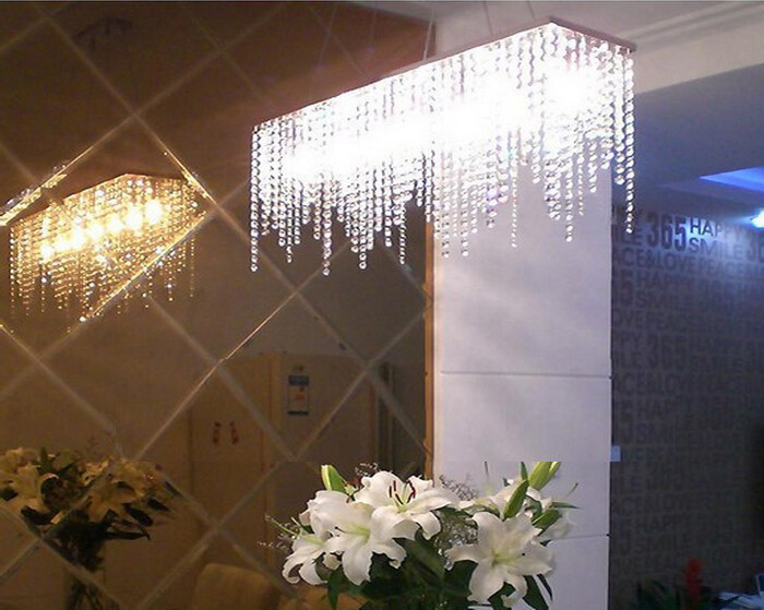 Modern Rectangular Raindrop Crystal Chandelier Pendant Lamp Lighting - Chandelier raindrop crystals
