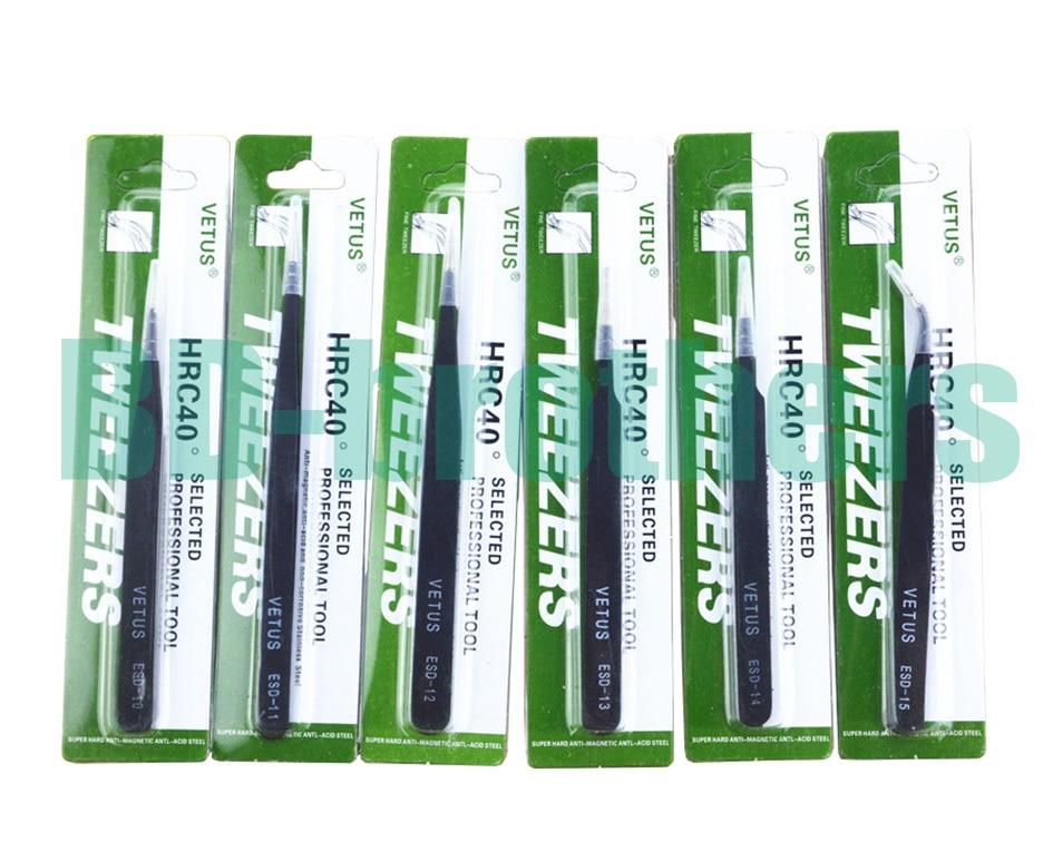 Black VETUS Tweezers HRC40 Antistatic Stainless Steel Nipper ESD 10 11 12 13 14 15 16