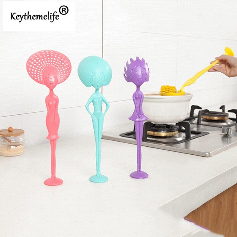1 قطع متعددة الأغراض يمكن الوقوف شكل الإنسان ملعقة مصفاة مين ملعقة أدوات المطبخ البلاستيكية أواني ب