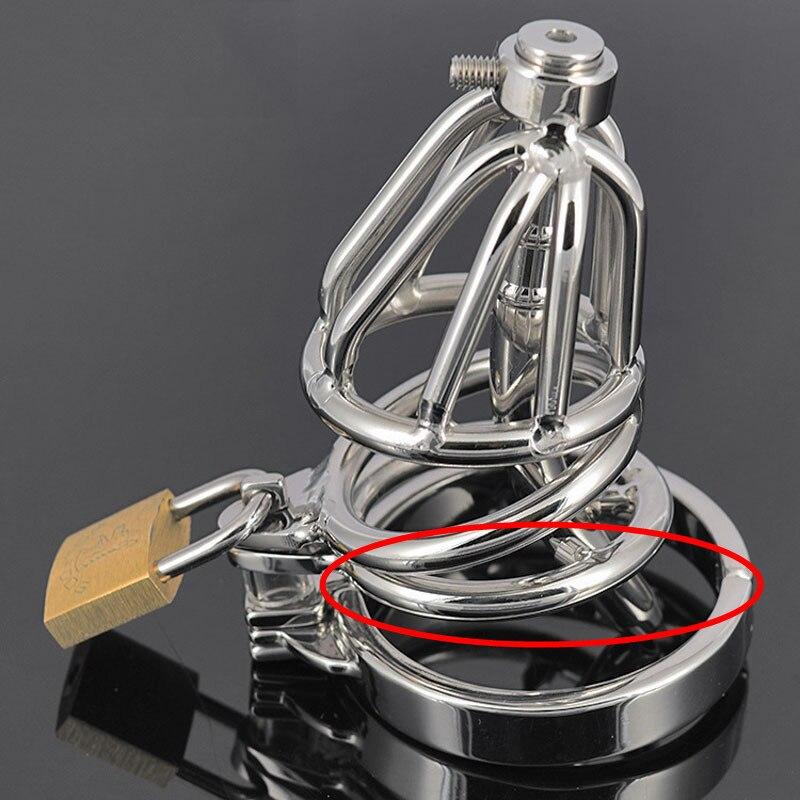 Cathéter urétral en métal de cage de chasteté d'acier inoxydable de 100%, jouets sexuels masculins de dispositif de chasteté d'anneau de coq de 5 tailles pour les hommes