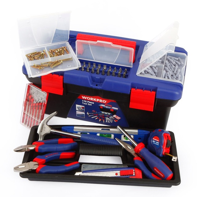 WORKPRO 170PC Household Tool Set Home Tools Plastic Tool Box Set 3