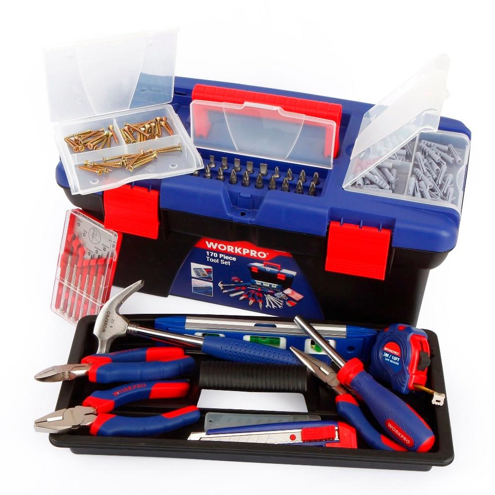 Tools : WORKPRO 170PC Household Tool Set Home Tools Plastic Tool Box Set