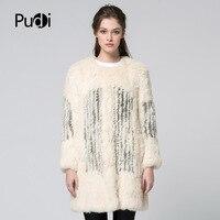 Pudi CT7032 новые зимние женские модные Настоящее пальто с мехом кролика волосы двубортное пальто теплая и удобная