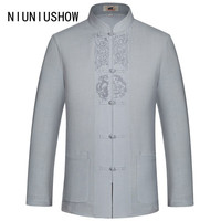 New Arrival Chinese Men's Linen Embroidery Kung Fu Shirt Summer Tops Long Sleeve Clothing Size S M L XL XXL XXXL