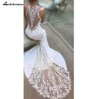 Lace White Mermaid Wedding Dresses Vestido Noiva Simple Appliques Beach Bridal Gowns