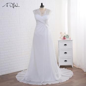 Adln In Stock Wedding Dress Plus Size Cap Sleeve Applique Women