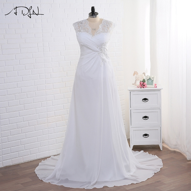 In Stock Wedding Dress Plus Size Cap Sleeve Applique Women Beach Bridal Gowns Chiffon Lace-up Back