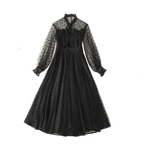 Haute qualité nouvelle mode femme 2019 printemps transparent maille dot catwalk flare robe couleur noir maille longue robes de grande taille xl