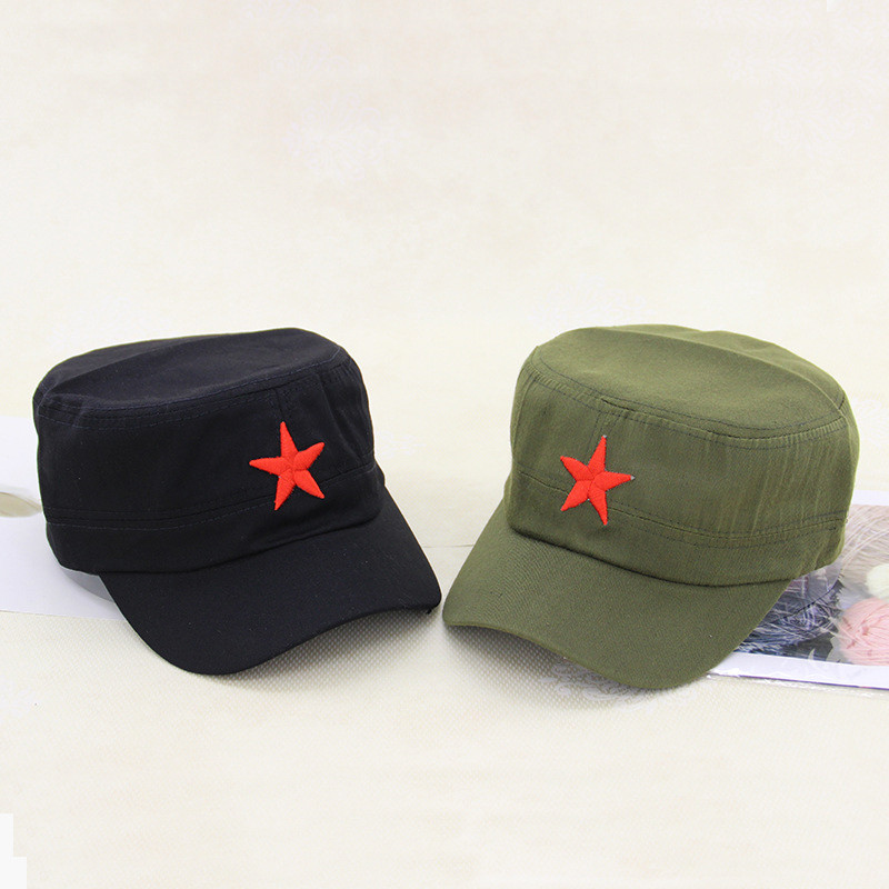 642d24c949e New classic military caps Unisex Vintage Army Sun caps adjustable Solid  Colors Red Star Embroidery Cap