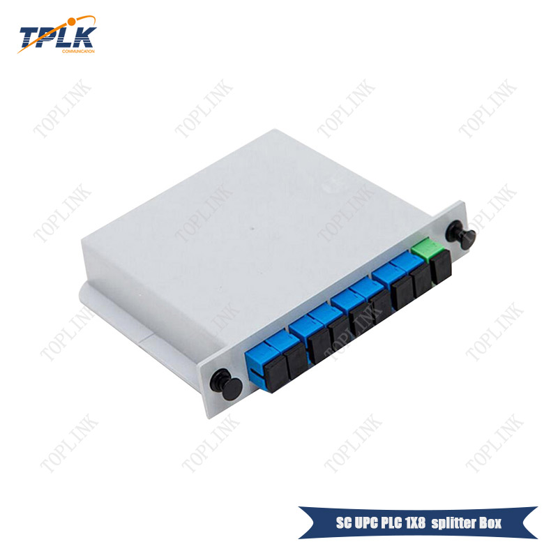 Free shpping 5pcs lot SC UPC PLC 1X8 Fiber Optic FTTH Splitter box Optical Coupler SC
