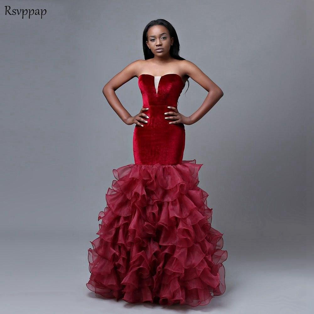 f0b84887176 Long Mermaid Prom Dresses 2019 Sweetheat Sleeveless African Girl Floor  Length Velvet Burgundy Prom Dress