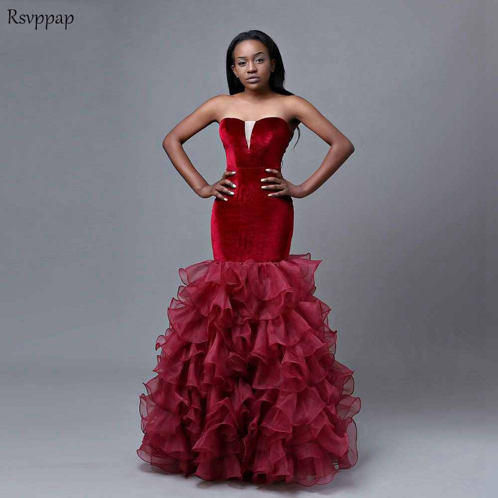 f1c064dd1892 Long Mermaid Prom Dresses 2019 Sweetheat Sleeveless African Girl Floor  Length Velvet Burgundy Prom Dress