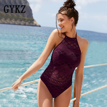 Купить с кэшбэком 2019 Summer halter Sexy one pieces swimsuit women Push Up female hollow monokini black bathing suit pad swimming solid Beachwear