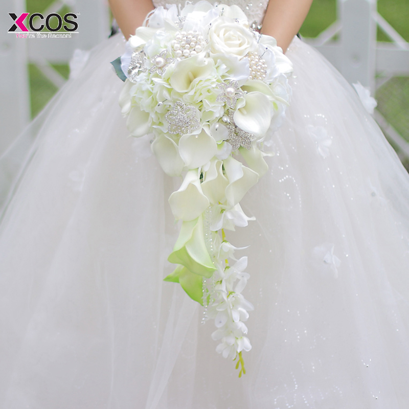Artificial Flowers Waterfall Wedding Bouquets With Crystal Bridal Brooch Bouquets Vintage White Brides Bouquet De Mariage