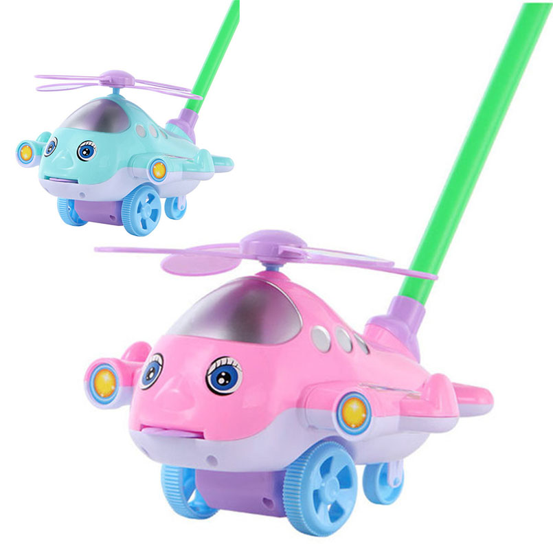 Pink/blue Baby Walker Cart Cartoon Airplane Toy Trolley Outdoor Sports Tongue Out Hand Push Walk Drag Plane Car Children Toy