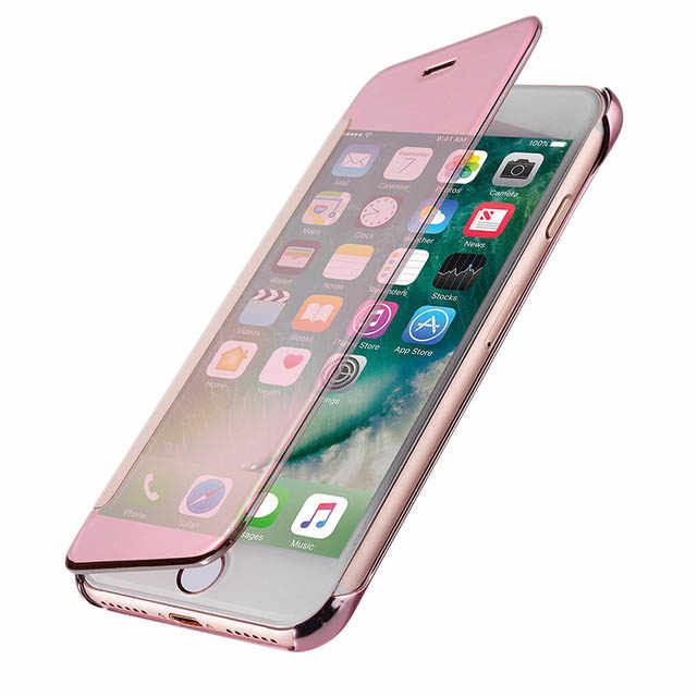 Luxury Flip Case For iphone 6 S 6s 7 8 Plus 5 5S SE X 6Plus 6SPlus 7Plus 8Plus Cover Clear PC View Windows Mirror Coque
