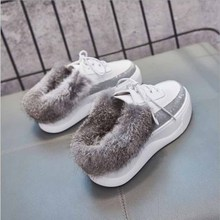 2019 Autumn women shoes platform sneakers leather suede casual slip on  heels creepers moccasin