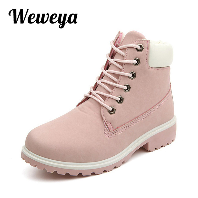be684d9cb341e Weweya 2017 nouveau automne bottines à talons plats chaussures femmes mode  rose marque femmes bottes de