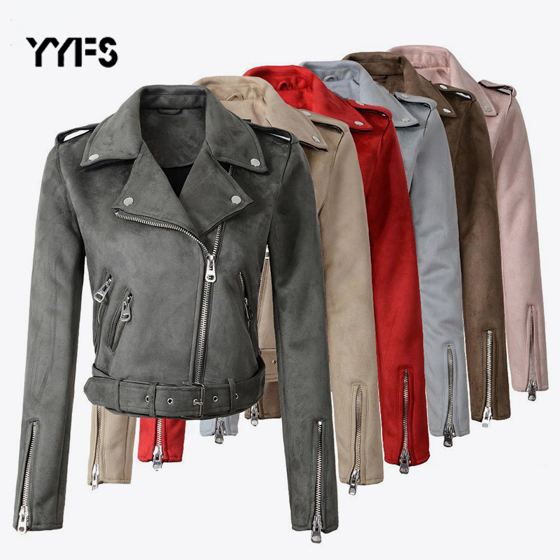 Faux PU   Leather     Suede   Short Jackets Women's Zipper Motorcycle Coat Womens 2019 Fashion Biker Jackets plus size jaqueta de couro