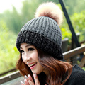 Winter Knitted hats women big fur ball pom pom caps Crochet Hats For Women Patchwork Cute Casual Cap Women Beanies Gorros