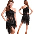 Latin Dress Clothes Dance Costume Sequin Bra Top + Tribal Sequins Adult Skirt Tassel Set Y46 Y2