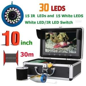 PDDHKK 10 дюймов 20 м/30 м Водонепроницаемая видеокамера для подводной рыбалки рыболокатор 15 шт. белые светодиоды + 15 шт инфракрасная лампа 1000TVL