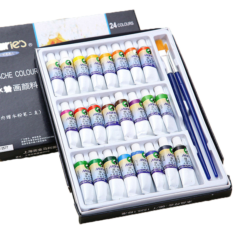 24 Colors 5ML Gouache Paint Set DIY Watercolor Paint  For Fabric Wall Stone Color Art Painting Drawing Tools Art Supplies