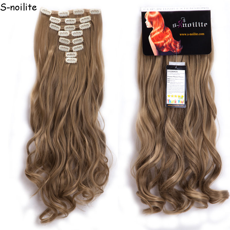 8 Piece Set Full Head Clip in Hair Extensions 18 Clips ins Hair Extension Curly Synthetic