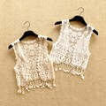 Retail 2016 Sweet Kids Lace Tassel Cardigans White and Beige Color Summer Fall Fashion Waistcoats