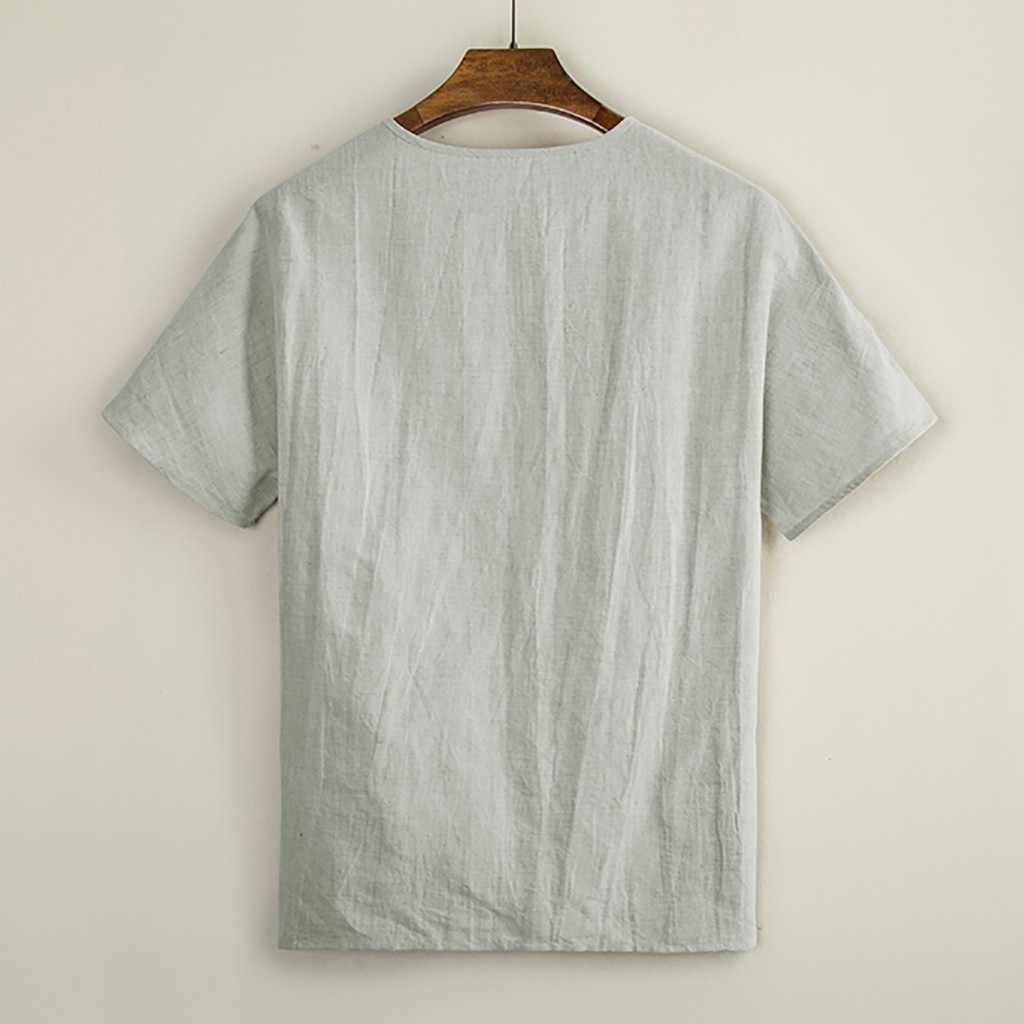 夏のシャツの男性ファッション半袖だぶだぶの綿リネン固体ボタンビーチシャツカジュアル毎日の服 camisas hombre