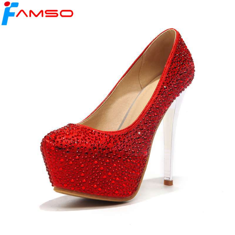 FAMSO 2018 New Shoes Pump Red Gold Silver glitter High Heels Wedding Shoes Autumn Designer Rhinestone Women's Pumps siketu 2017 free shipping spring and autumn women shoes fashion sex high heels shoes red wedding shoes pumps g107
