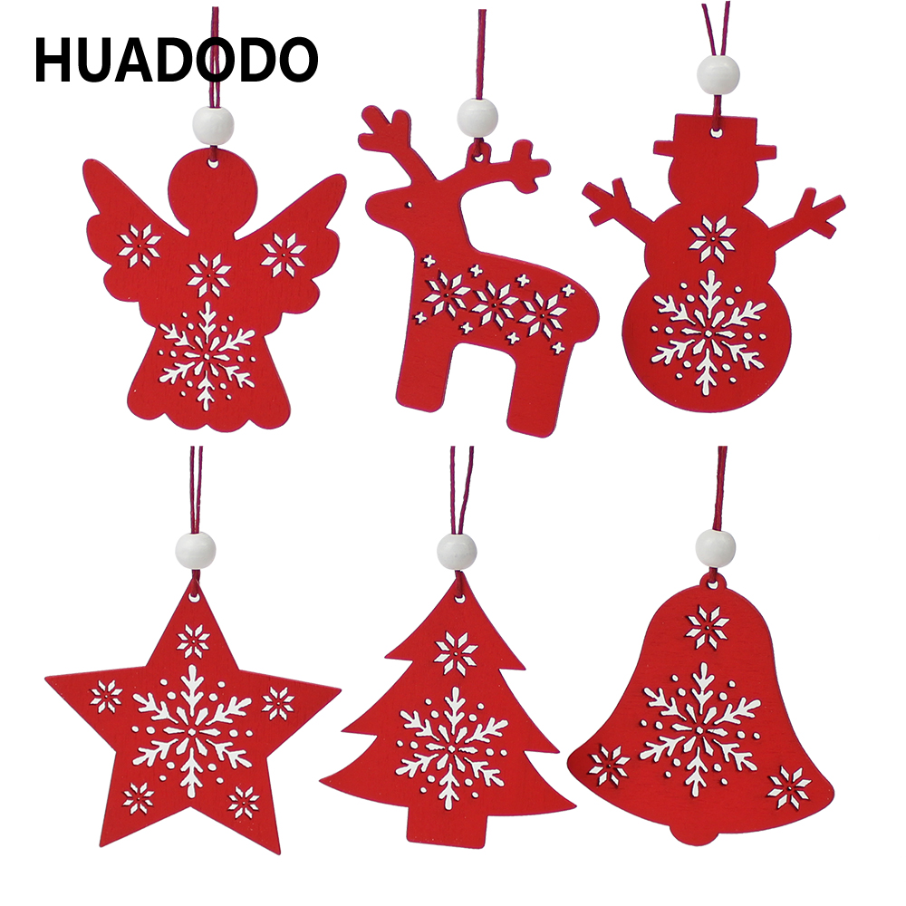 HUADODO 6Pcs Red&White Wooden Tree Deer Snowman Christmas Decorations Pendants Ornaments For Xmas Tree Home Party Kids Gift