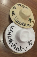 Customized women summer paper large brim sequin sun hat beach hat