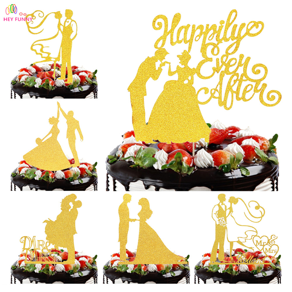 HEY FUNNY Gold Acrylic Wedding Cake Topper For Decor Marriage Mr Mrs ...